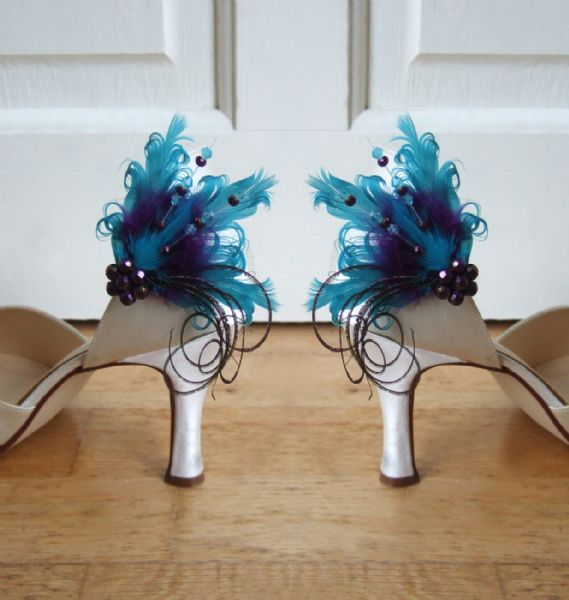 "Bridal Teal Purple and Goose Feathers and Swarovski Crystals ""Okotoks"" Shoe Clips SCP0808"